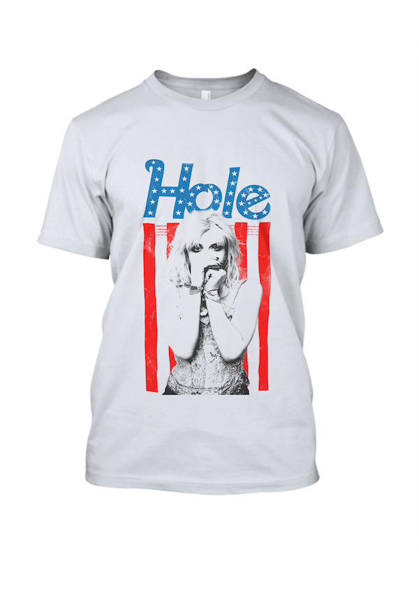 American Flag Hole Band T Shirt